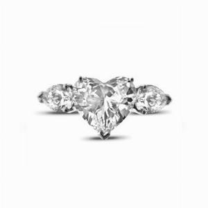 Heart Shape Engagement Ring With Pear Shape  Shoulders 1.49ct EVS2 GIA